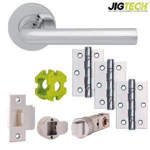 Jigtech Riva Door Packs - Privacy - Satin Chrome