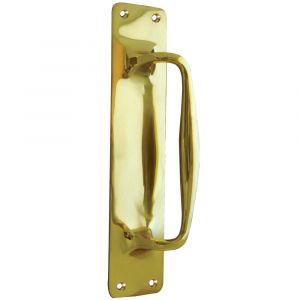 Cranked Victorian Pull Handle On Plate - Polished Brass