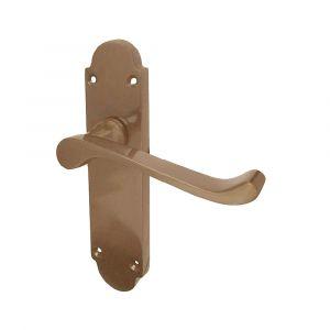 Epsom Door Handle On Backplate - Latchset - Bronze