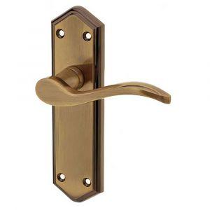 Paris Door Handle On Backplate - Latchset - Antique Brass