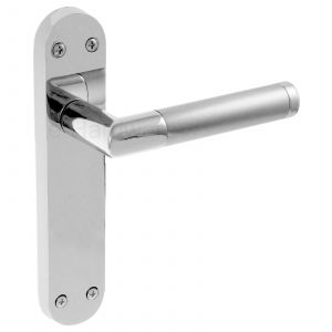 Mitred Door Handle On Backplate Latchset - Polished Chrome / Satin Chrome
