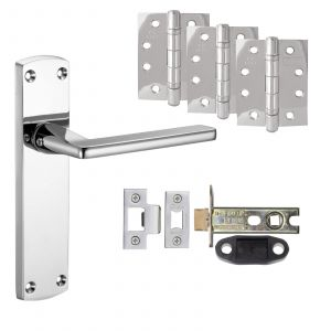 """Leon Door Handle On BACKPLATE - Fire Rated Latch Door Pack With 4"""" Hinges - Polished Chrome"""