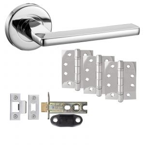 """Leon Door Handle On Rose - Fire Rated Latch Door Pack With 4"""" Hinges - Polished Chrome"""
