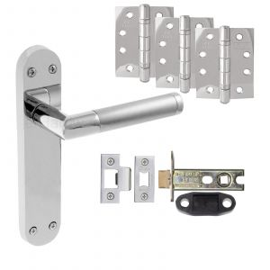 """Mitred Twin Finish Door Handle On Backplate - Fire Rated Latch Door Pack With 4"""" Hinges - Polished Chrome / Satin Chrome"""