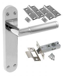 Mitred Twin Finish Door Handle Set - LATCH DOOR PACK