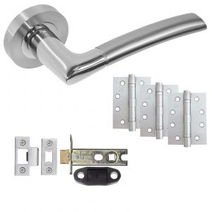 """Odin Door Handle On Rose - Fire Rated Latch Door Pack With 4"""" Hinges - Polished Chrome / Satin Chrome"""