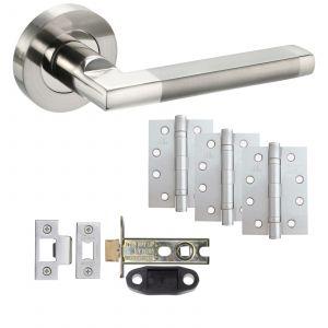 "Parus Door Handle On Rose - Fire Rated Latch Door Pack With 4"" Hinges - Polished Nickel / Satin Nickel"