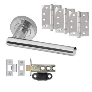 """Petra Door Handle On Rose - Fire Rated Latch Door Pack With 4"""" Hinges - Polished Chrome"""