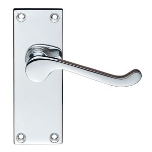 Project Victorian Scroll Door Handle On Backplate - Short Latchset - Polished Chrome