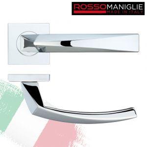 Hydra - Italian Designer Door Handle on Square Rose - Polished Chrome