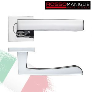 Mensa - Italian Designer Door Handle on Square Rose - Polished Chrome
