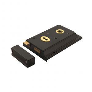 Traditional Rim Lock - 152mm x 102mm - Black