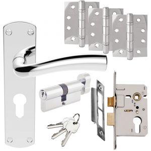 Serozzetta Cinco Door Handle Set - Euro Lock Door Packs - Polished Chrome