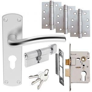 Serozzetta Cuatro Door Handle Set - Euro Lock Door Pack - Satin Chrome