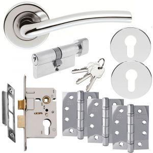 Serozzetta Cuatro Door Handle on Rose - Euro Lock Door Pack - Polished Chrome