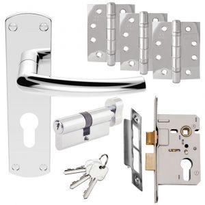 Serozzetta Dos Door Handle Set - Euro Lock Door Pack - Polished Chrome