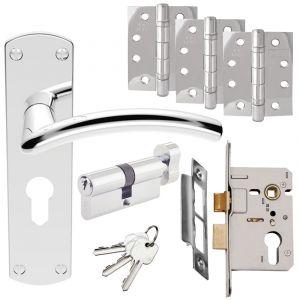 Serozzetta Tres Door Handle Set - Euro Lock Door Pack -  Polished Chrome