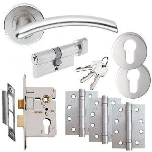 Serozzetta Tres Door Handle on Rose - Euro Lock Door Pack - Satin Chrome