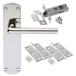 Serozetta Uno Door Handle on Backplate - Latch Door Pack - Polished Chrome