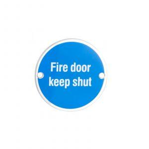 Fire Door Keep Shut Symbol Satin Anodised Aluminium