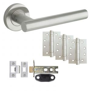 """T-Bar Door Handle On Rose - Fire Rated Latch Door Pack With 4"""" Hinges - Satin Stainless Steel"""