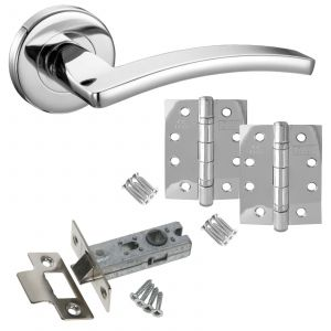 "Toledo Door Handle On Rose - Latch Door Pack With 4"" Hinges - Polished Chrome"