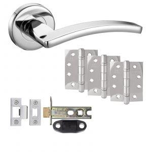 """Toledo Door Handle On Rose - Fire Rated Latch Door Pack With 4"""" Hinges - Polished Chrome"""