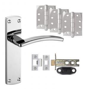 """Toledo Door Handle On Backplate - Fire Rated Latch Door Pack With 4"""" Hinges - Polished Chrome"""