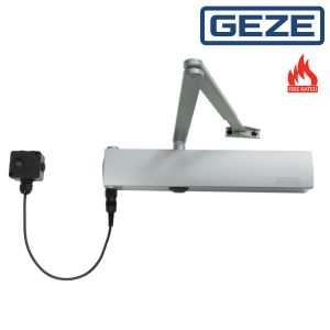 GEZE TS4000EFS Overhead Door Closer with Electro-Hydraulic Free Swing Hold Open Device