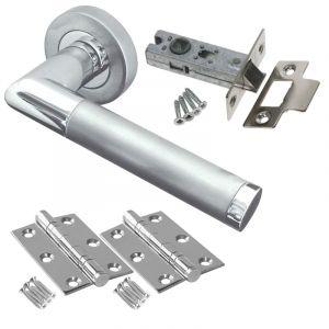 Mitred Door Handle Set - Latch Door Pack - Polished Chrome / Satin Chrome