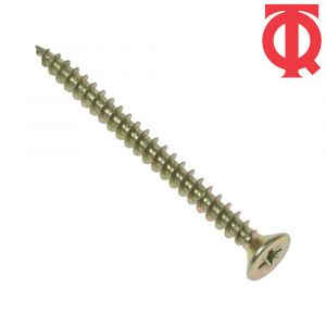 TQ Woodscrew Plusdriv Single Thread Hardened with Countersunk Head - Bright Zinc Plated/Yellow Passivated