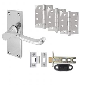 """Victorian Scroll Door Handle On Backplate- Fire Rated SHORT Latch Door Pack With 4"""" Hinges - Polished Chrome"""