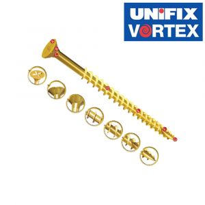 Unifix Vortex Power Screws - Fully Threaded - Bright Zinc and Yellow Passivated