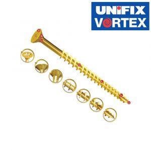 Unifix Vortex Power Screws - Bright Zinc and Yellow Passivated