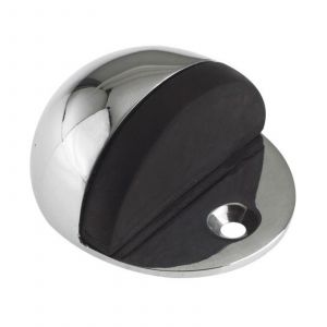 Door Stop - Oval Floor Mounted - 50mm dia - Face Fix - Polished Chrome