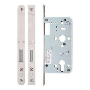 DIN Euro Dead lock 55mm Satin Stainless