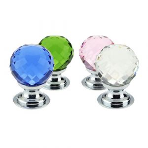 Glass Faceted Cupboard Knobs - Polished Chrome - Zoo Hardware