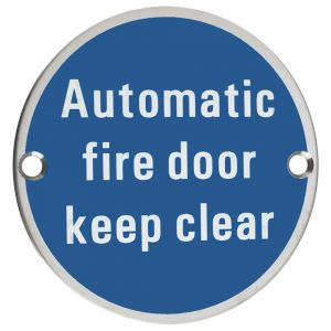 Automatic Fire Door Keep Clear Symbol - 76mm Signage