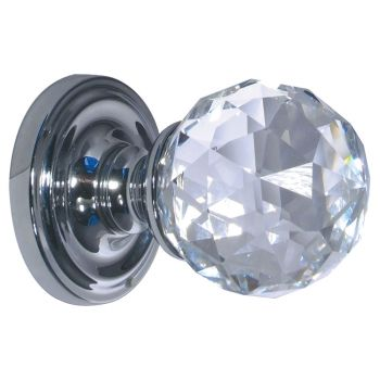 Faceted Crystal Mortice Knob 50-60mm - Polished Chrome