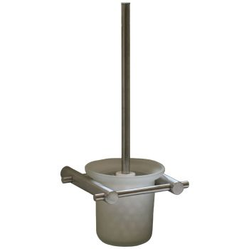 Open Wall Mounted Toilet Brush and Holder Satin Stainless Steel