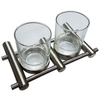 Double Satin Stainless Steel Glass Holder and Glass