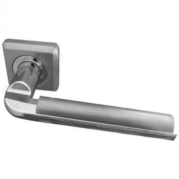 Athena Door Handle Lever On Rose - Polished Chrome / Satin Chrome