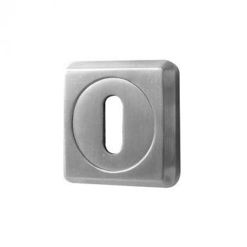 Chamfered Square Standard Profile Keyhole Cover - Satin Chrome