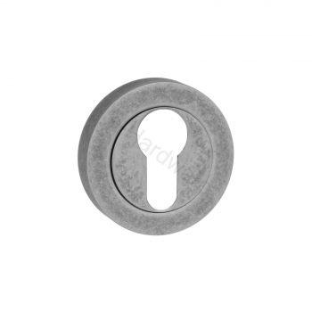 Old English Euro Cylinder Escutcheon Straight Edge - Distressed Silver