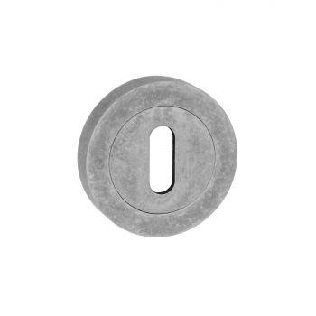 Old English Standard Keyhole Escutcheon - Distressed Silver