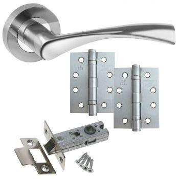 Astrid Chrome Door Handle Set - LATCH DOOR HANDLE PACK