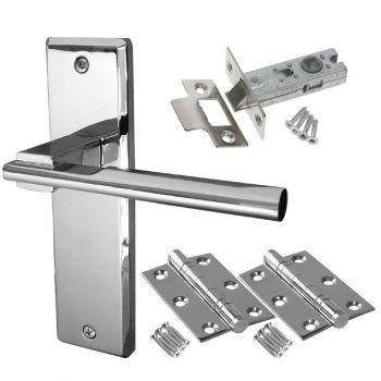 Delta Door Handle Set - Latch Door Pack - Polished Chrome