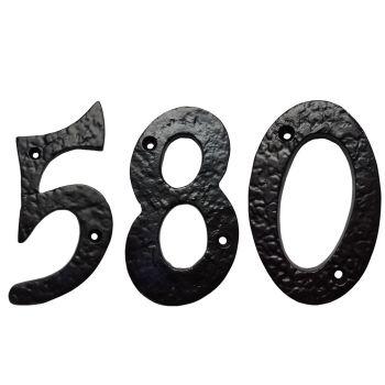 100mm  Screw Fix Numerals Black Antique