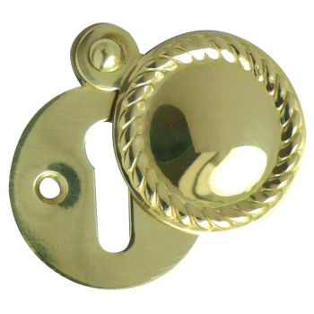 Georgian Covered Keyhole Cover 32mm - Polished Brass