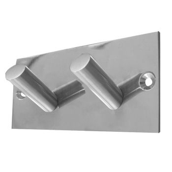 Double Robe Hook on Rectangular Plate - Polished Stainless Steel